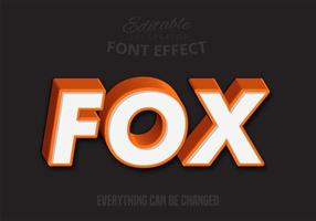 Oranje 3D Fox-tekst, bewerkbare tekststijl vector