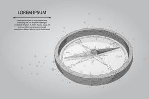 Netlijn en punt veelhoekig kompaspictogram