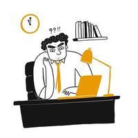 Jonge mens die en laptop op kantoor denken bekijken vector