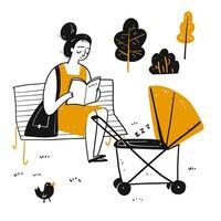 Cartoon jonge moeder leesboek in park met baby