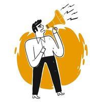Bedrijfs mens die door luide spreker schreeuwt
