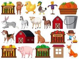 Grote reeks geïsoleerde boerderijobjecten vector