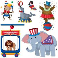 Een set circusdieren vector