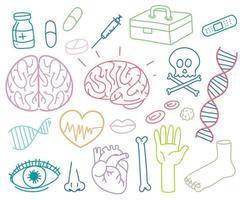 Doodles van verschillende medische pictogrammen