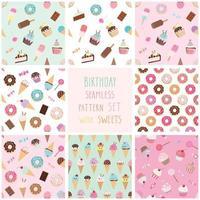 Leuk naadloos patroon dat met verschillende snoepjes wordt geplaatst.