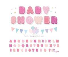 Katoenen textuuralfabet voor meisjes. Baby douche ontwerp.