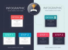 Infographic opties stap sjabloonontwerp