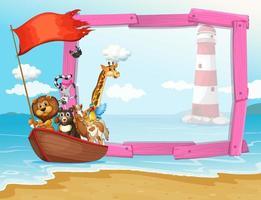 Frame-ontwerp met wilde dieren in de boot vector