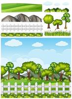 Set van natuur elementen achtergrond vector