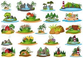 Grote groep geïsoleerde eilanden scènes vector