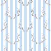 naadloze zilveren glitter gewei patroon op blauwe streep achtergrond vector