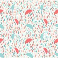 Naadloze weer regenachtige dag met paraplu patroon achtergrond