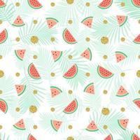 naadloze gouden stip glitter met watermeloen patroon achtergrond vector