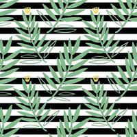 naadloos groen hand getrokken bladpatroon op streepachtergrond vector