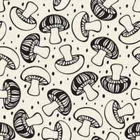 naadloze monochroom hand getrokken doodle paddestoel patroon achtergrond vector