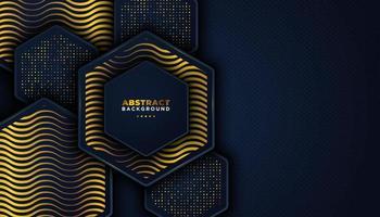 Donkere abstracte achtergrond met overlappende lagen en gouden glitters stippen