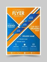 Brochure blauw en oranje geometrische sjabloon folder vector
