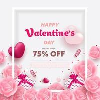 Happy Valentine's Day banner met rode en roze luxe harten