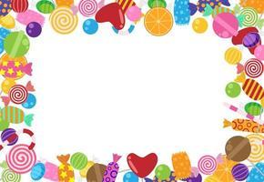 Snoepjes en snoepjes frame sjabloon vector