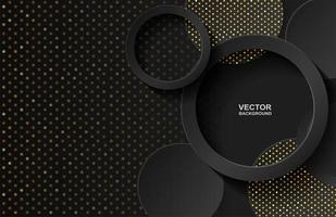 Abstracte cirkel zwarte gouden overlappingsachtergrond vector
