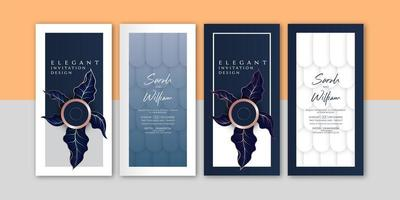 Elegante grafische bladeren uitnodigingsset vector