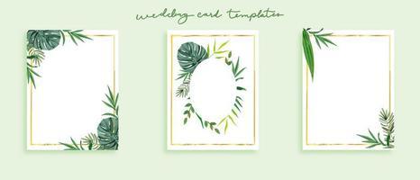 Mooie set bruiloft kaartsjablonen wilde bladeren in groen thema vector