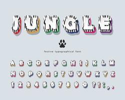 Jungle 3d Zebra huid kleurrijk alfabet vector