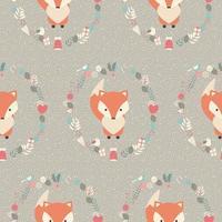 Naadloos patroon met schattige kerst baby vos omgeven met bloemendecoratie