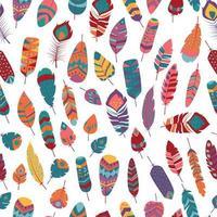Naadloos patroon met boho uitstekende stammen etnische kleurrijke trillende veren vector