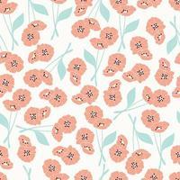 Naadloos patroon met oranje en blauwe bloemen