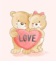 Draag paar met liefdehart