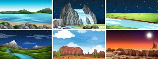 Natuurlijke omgeving landschap scène set vector