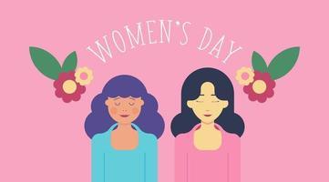 8 maart Vrouwendagachtergrond met twee vrouwen