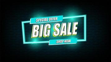 Neon grote verkoop licht teken retro stijl vector banner