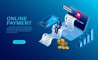 Online betaling met computerbestemmingspagina
