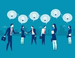 Mensen uit het bedrijfsleven presenteren mechanisme en ideeën