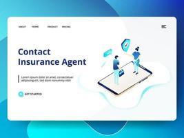 Neem contact op met de verzekeringsagent websitesjabloon vector