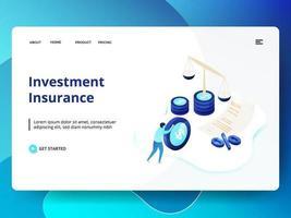 Investering verzekering website sjabloon vector