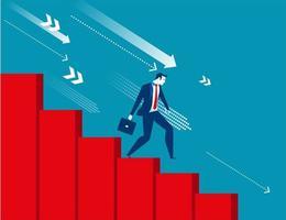Zakenman die zich neer met economische recessie beweegt