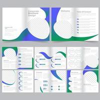 Corporate blauw groen kleurverloop zakelijke brochure sjabloon