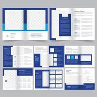 Moderne blauwe zakelijke brochure sjabloon set vector