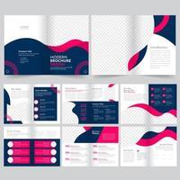 Blauwe en roze moderne zakelijke brochure sjabloon set