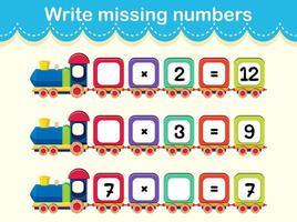 Schrijf de ontbrekende nummers trein vector