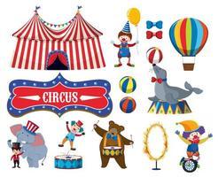 Set van verschillende circusobjecten