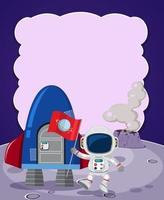 Lege banner met astronaut en raketschip