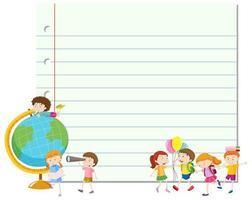 Educatieve blanco papieren sjabloon met studenten