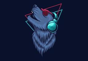 Wolf hoofdtelefoon ontwerp vector
