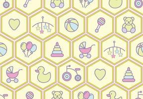 Babyspeelgoed naadloos patroon met rammelaar, beer, driewieler en meer