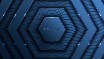 Gelaagde blauwe zeshoek luxe achtergrond