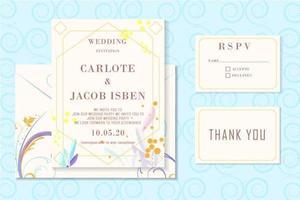 Elegante abstracte vorm stationaire bruiloft uitnodiging vector